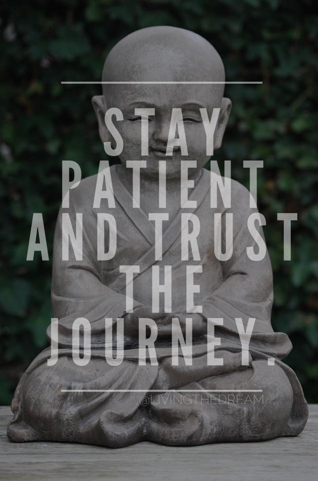 Buddha says stay patient and trust the journey